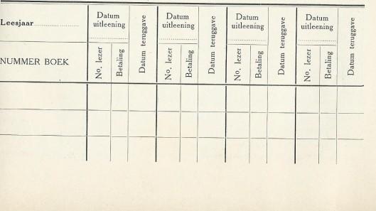 Uitleenbriefje zoals in gebruik bij de nutsbibliotheken omstreeks 1910
