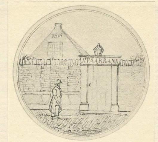 De Haarlemse Nutsspaarbank in 1818. Naar een afbeelding uit een Democritische Almanak voor het schrikkeljaar 1840.