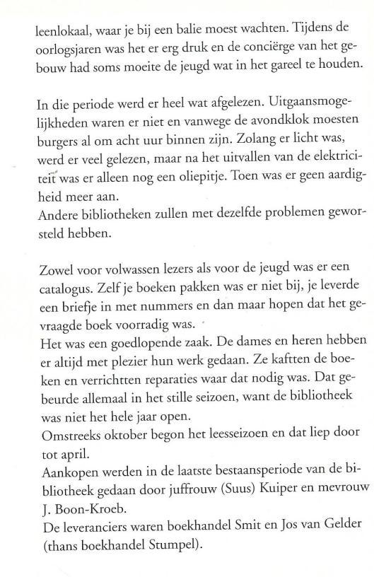 Vervolg historie nutsbibliotheek in Enkhuizen. Uit: Lectori Salutem, 2000.