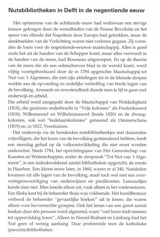 Nutsbibliotheken Delft. Uit: 'van beleren tot studeren - van bevoogding tot bevrijding; vijfenzeventig jaar bibliotheekwerk in Delft; door J.L.W.van Leur, 1992