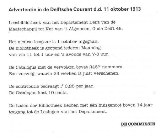 Advertentie van nutsbibliotheek, uit: de Delftsche Courant van 11 oktober 1913.