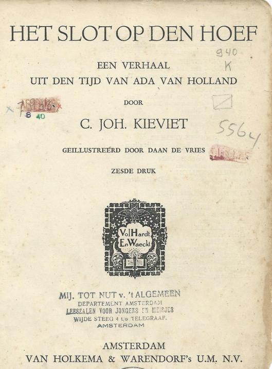 Afgeschreven boek uit Nutsbibliotheek voor kinderen aan de Wijdesteeg in Amsterdam