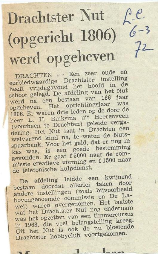 Bericht uit Drachter Courant