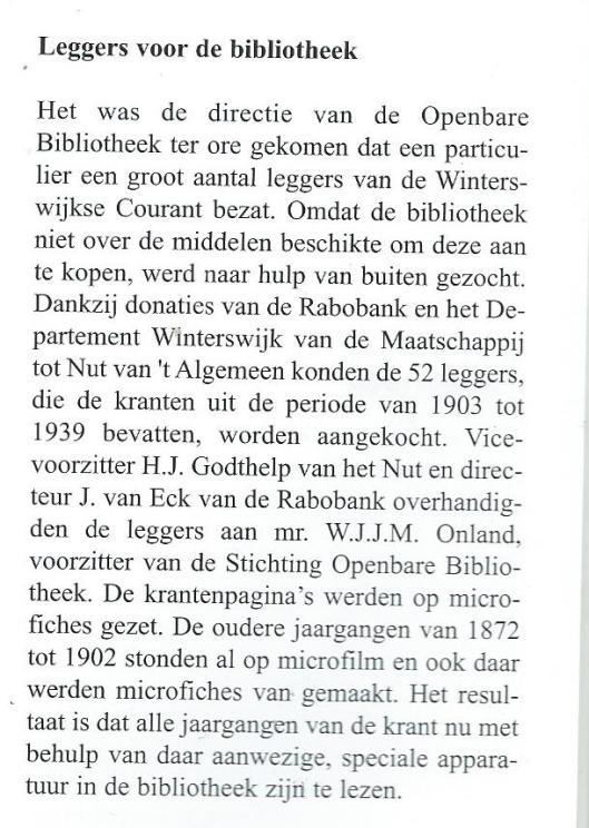 Donatie van 't Nut Winterswijk voor bibliotheek circa 1990 (UIt: 150 jaar departement Winterswijk van de Maatschappij tot Nut van 't Algemeen, door Willem Peletier, 2004, p. 43).