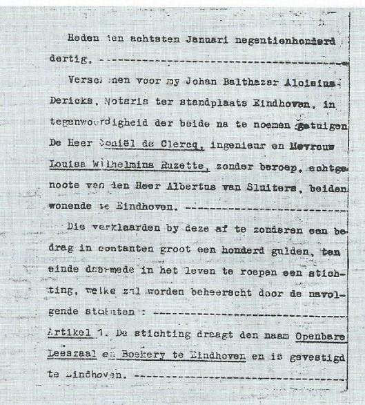 Eerste pagina van oprichtingacte van de stichting openbare leeszaal en boekerij door het Nutsdepartement Eindhoven, 8 januari 1930 (Uit: '125 jaar Nut in Eindhoven, door J.A.Duijnhouwer, 2000, p. 124).