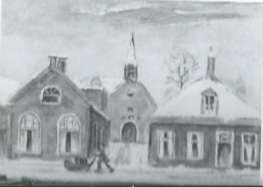 In de consitoriekamer (links op dit schilderijtje) is de Nutsbibliotheek van Gorredijk in 1868 ondergebracht