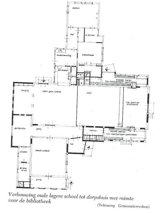 Plattegrond van nutsbibliotheek Gorredijk