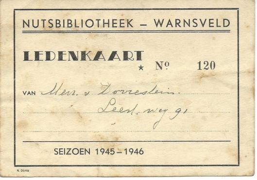 Ledenkaart Nutsbibliotheek Warnsveld; seizoen 1945-1946