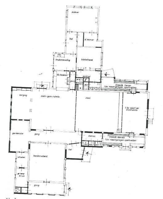 Plattegrond van verbouwing oude lagere school tot dorpsschool en bibliotheek in Terwispel