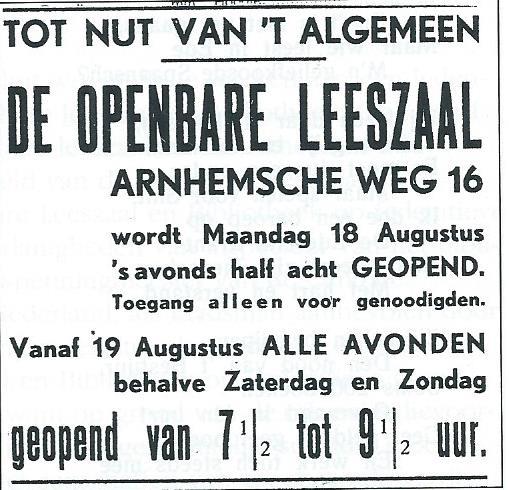 Advertentie van Nutsbibliotheek Ede, geopend op 18 augustus 1930