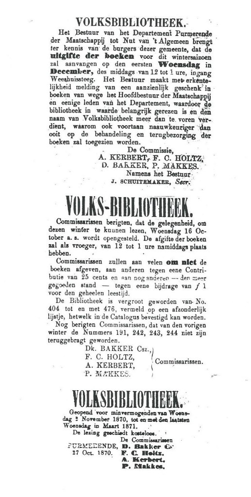 Berichten volksbibliotheek van 't Nut in Purmerend. Uit: Schuitemakers Purmerender Courant, 1866, 1867, 1870