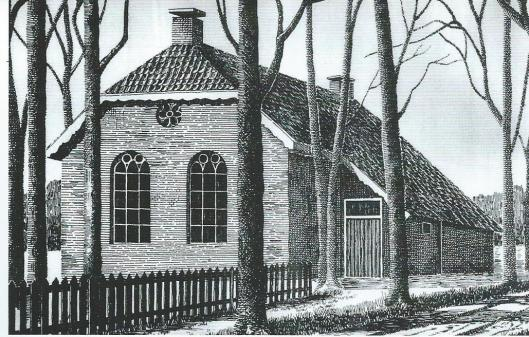 'De Oude School' In Emmen heeft ook lange tijd als onderdak gefungeerdvan de nutsbibliotheek (pentekening K.Keen, in bezit van Marcel Bulte)