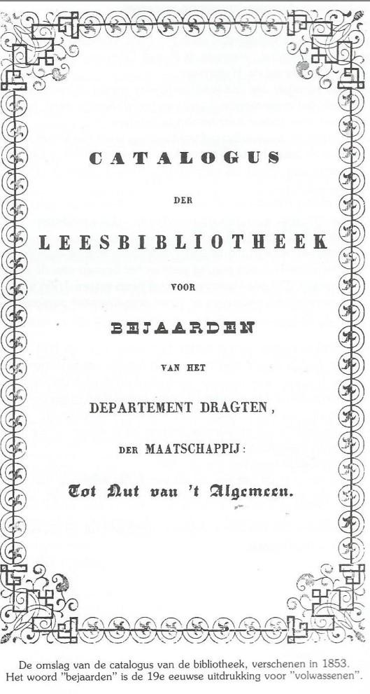 Vooromslag catalogus leesbibliotheek voor bejaarden van departement Drachten, 1853