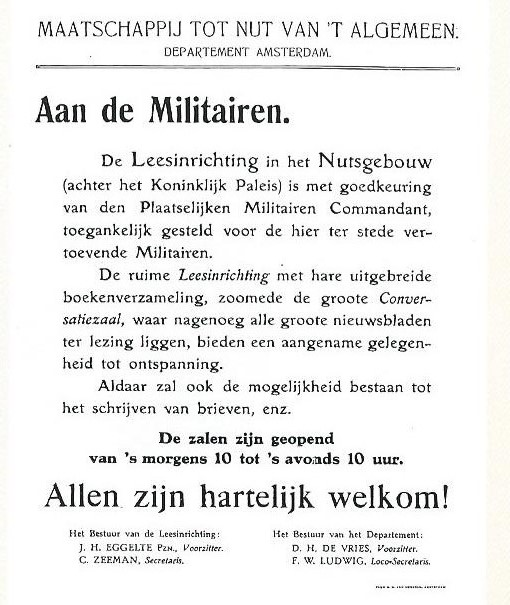 Het Amsterdamse Nutsgebouw bood tijdens de Eerste Wereldoorlog gemobiliseerde militairen gelegenheid te lezen.