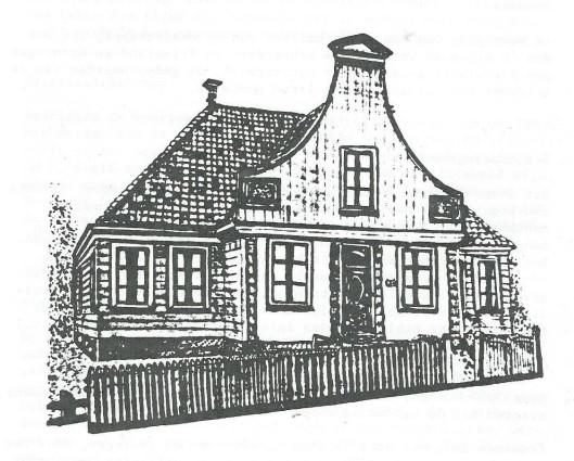 Tekening van het pand waar vanaf 1907 de centrale voor reizende bibliotheken in Broek in Waterkand was gehuisvest.