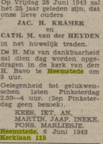 Bericht over 25-jarig huwelijksjubileum Jac.H.Kramer en Cath.M.van der Heyden. (De Tijd, 4 juni 1943).