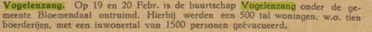 Vogelenzang. Uit: Nederlands Nieuws; uitgave van het Oranje Bulletin van Delft en omstreken, 6-3-1945