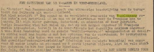 Bericht over het ontmanteling en verwoesting van V-1 basis in Vogelenzang. Uit Karinpers, 4 april 1945.
