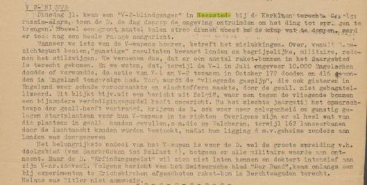 Over de neergestorte en ontplfte V-1 in Heemstede is enkel illegaal bericht in de Vrije Pers, een uitgave onder auspiciën van Vrij Nederlnd en Het Parool, 20-11-1944