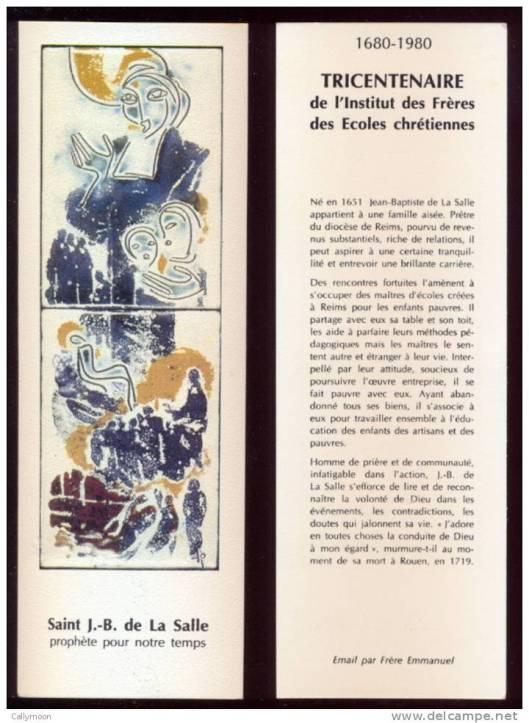 Boekenlegger, uitgegeven bij het derde eeuwfeest van de congregatie J.B.de la Salle 1680-1980