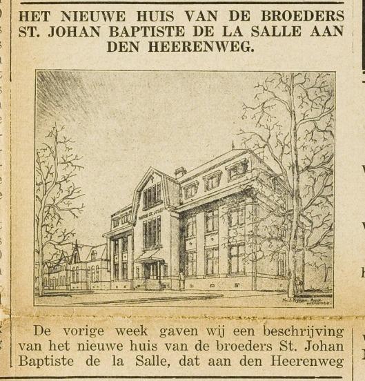 Tekening Broederhuis door architect Nic. J.Nijman (Eerste Heemsteedsche Courant van 16-11-1928)