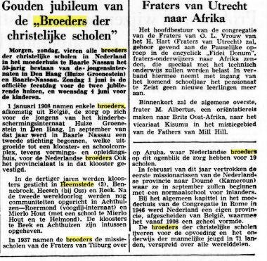 Bericht over gouden jubileum van de broeders der christelijke scholen in Nederland. Uit: De Tijd van 17-5-1958