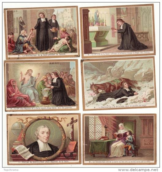 Serie van chromoplaatjes over het leven van Jean-Baptiste de la Salle