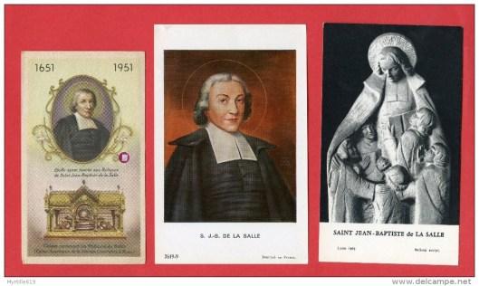 Drie van talrijke in Frankrijk verschenen devote prentjes gewijd aan J.B. de la Salle