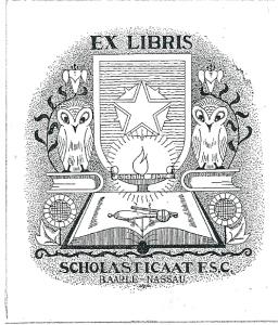 Exlibris van vm. bibliotheek Sholasticaat F.S.C. in Baarle-Nassau