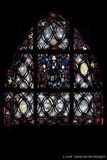 Glas-in-lood eaam met St.Jean-Baptiste de la Salle, vervaardigd door kerkfabriek Sint-Barbara in Eiden, Zuid-Limburg