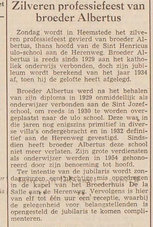 Jubileum broeder Albertus Hanegraaf (haaelem's Dagblad, 12-9-1959)