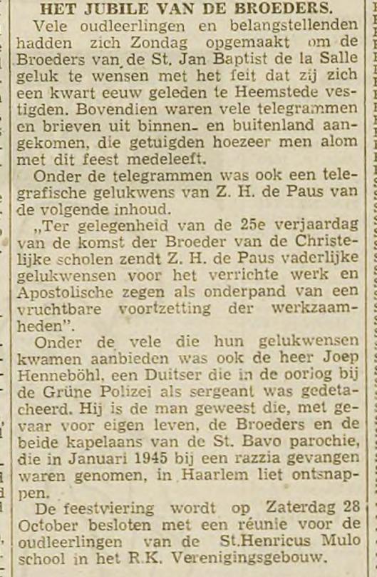 Jubileum van de een kwart-eeuw Broeders van de La Salle in Heemstede (Haaelem's Dagblad, 23-10-1950).