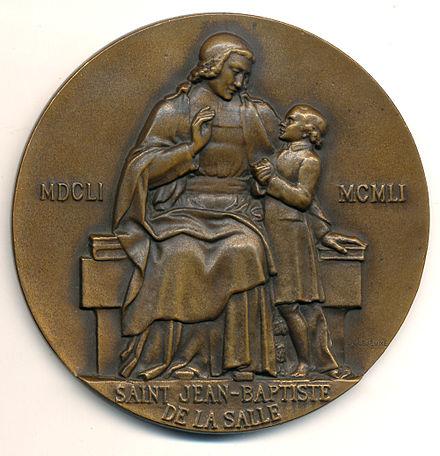 Medaille verschenen bij het derde eeuwfeest van J.B.de la Salle