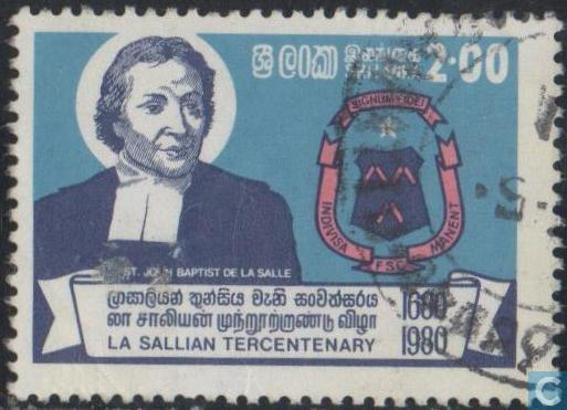 Postzegels gewijd aan J.B.de la Salle en/of de scholen van deze congregatie zijn verschene in o.a. Frankrijk (1951), Monaco (1954), Ierland (1980), Brazilië (1951), Aegenrinië (1966), Spanje (1979), Filippijnen (1986) en zoals op bovenstaande foto te zien Sri Lanka (1981).