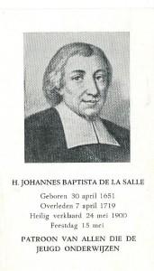 Bidprentje uit 1950 met op de achterzijde een Gebed tot de Heilige Johannes Baptista de la Salle
