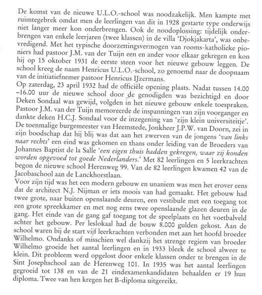 Over de Henricusschool, uit: Zorg aan de Duinrand, 2000, pagina 105.