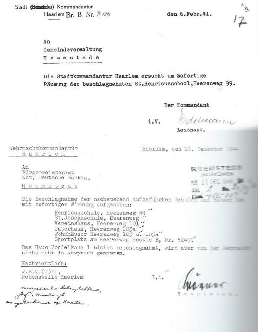 Schrijven van de Stadt Kommandantur te Haarlem om de Henricus ulo te ontruimen en een schrijven van de Wehrmachtkomandantur in Haaelem waarin de inbeslagneming is opgeheven (Gemeentearchief Heemstede)