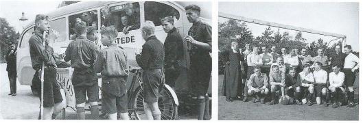Links verkennerij Heemstede, 1939 en rechts voetbalclub van de broeders in Heemstede, 1948 (Uit: boek José Eijt, pagina 111).