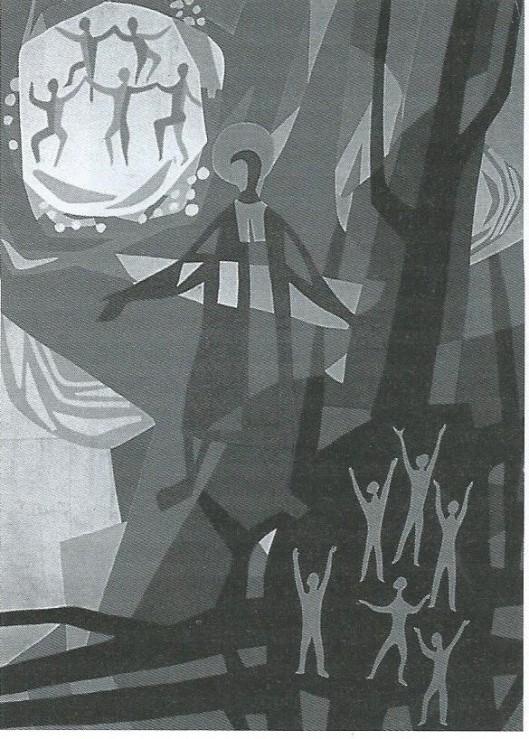 Jean-Baptiste de la Salle. Wandkleed in opdracht van de Nederlandse provincie ontworpen door de Brabantse kunstenaar Luc van Hoek. Het beeldt het doel van onderwijs en opvoeding door de broeders uit: kinderen brengen naar het licht (Uit boek José Eijt, pagina 198).