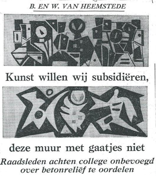 Al in 1959 waren er problemen geweest met het modernistische kunstwerk van Hans Wiesman. Het college van B. en W. - vooral burgemeester Van Rappard achtte het ontwerp onaanvaardbaar - trok toen de toegezegde 2,500 gulden subsidie terug. (H.D/, 27-2-1959).