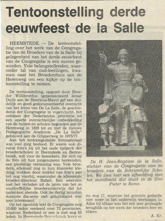 Tentoonstelling derde eeuwfeest de la Salle in Heemstede (Heemsteedse Koerier, 18-6-1980)