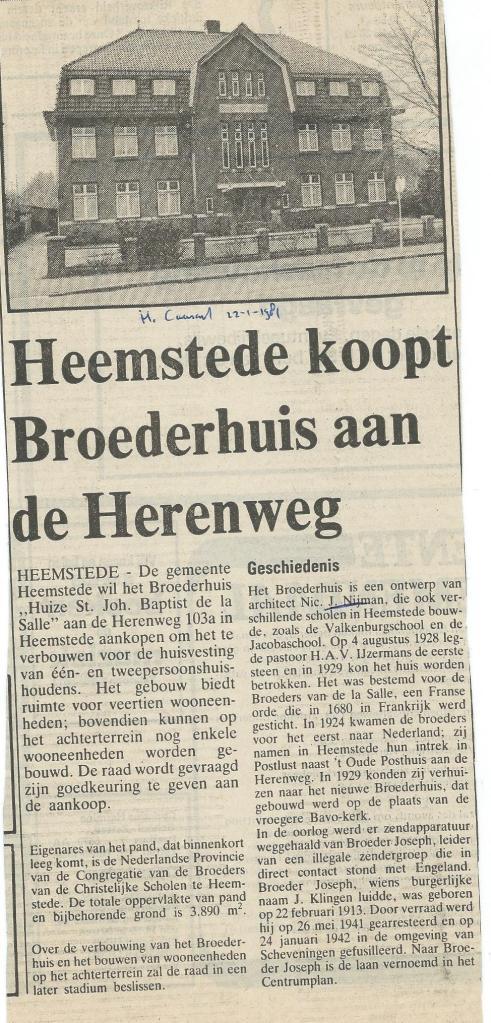 Gemeente Heemstede koopt Broederhuis aan de Herenweg. (Heemsteedse Courant, 22-1-1981)