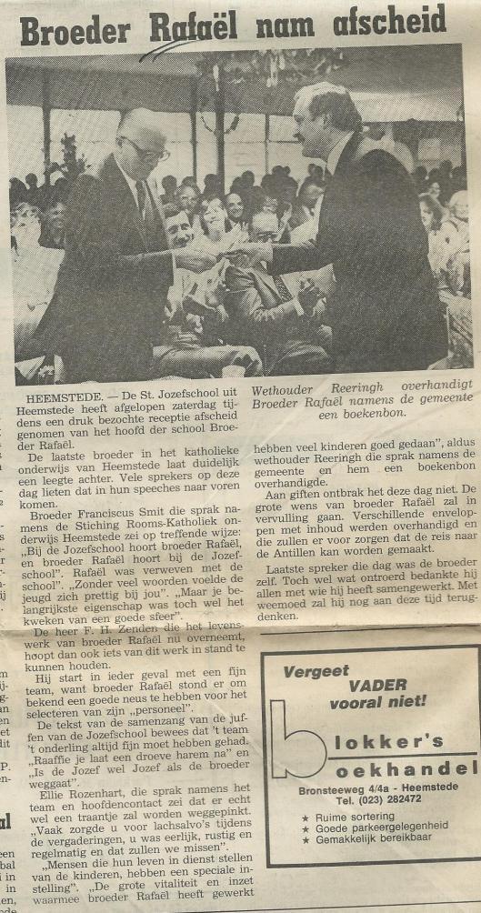 Broeder Rafaël nam afscheid. Uit: l Heemsteedse Koerier, 17-6-1981.