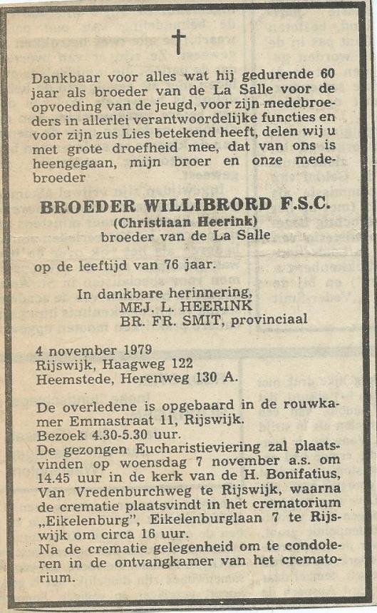 Rouwadvertentie Broeder Willibrord Heerink (nov. 1979)