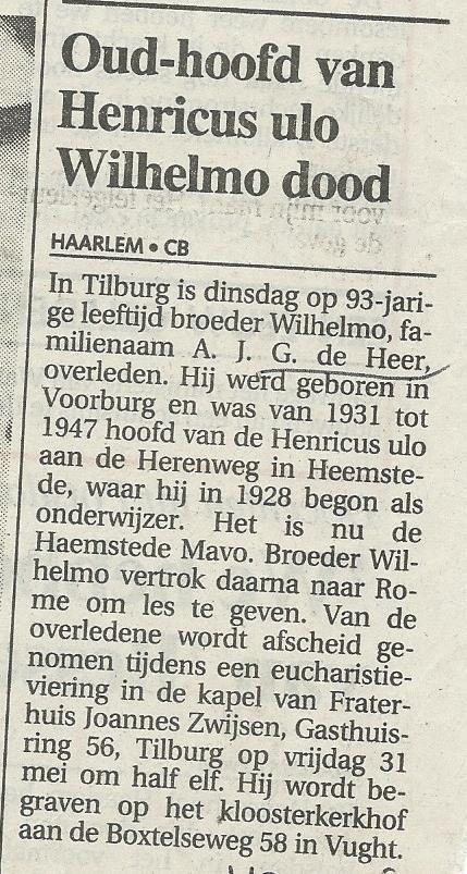 Oud-hoofd van Henricus ulo dood. Uit: Haarlems Dagblad van 29-5-1991)