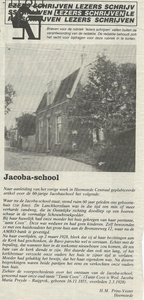 Aan de Lanckhorst waar de Jacobaschool kwam te staan (Heemstede Centraal, 1989)