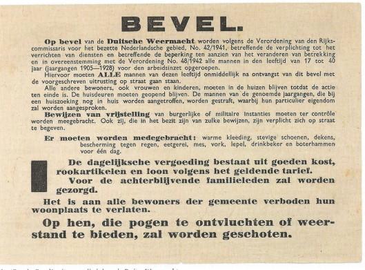 Het 'Razzia-bevel' uitgevaardigd door de Duitse Weermacht.