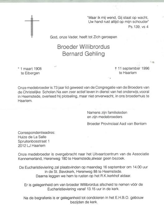 Rouwbrief Broeder Willibrordus Bernard Gehling