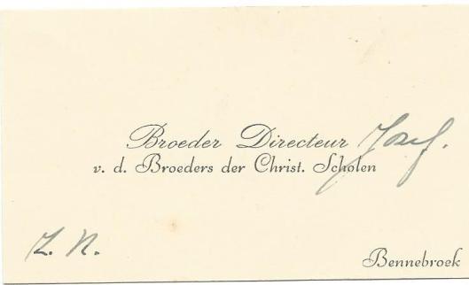 Visitekaartje van Broeder Jozef van Bavel uit 1942