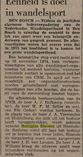 Broeder Remigius Stevens Heemstede. Uit: Leeuwarder Courant, 24-3-1975.